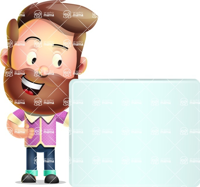 Vector 3D Cartoon Character АКА Ryan McConcept - With Blank Banner and Happy Face