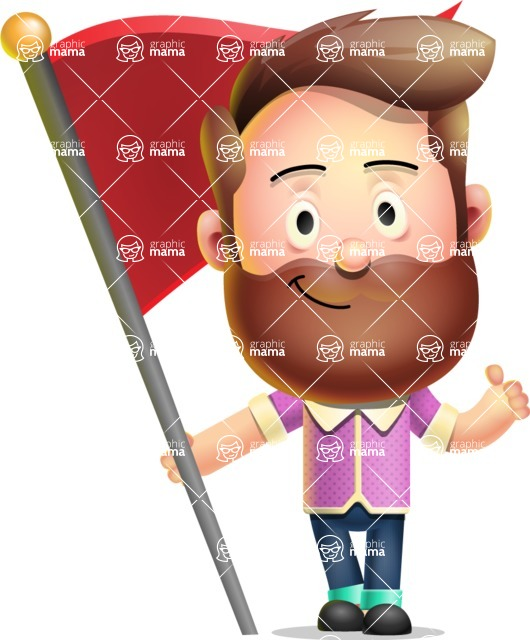 Vector 3D Cartoon Character АКА Ryan McConcept - With Flag