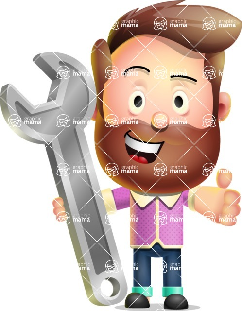 Vector 3D Cartoon Character АКА Ryan McConcept - With Repairing Tools - Wrench