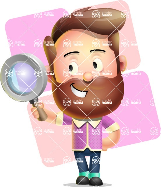 Vector 3D Cartoon Character АКА Ryan McConcept - With Simple Square Shapes Background