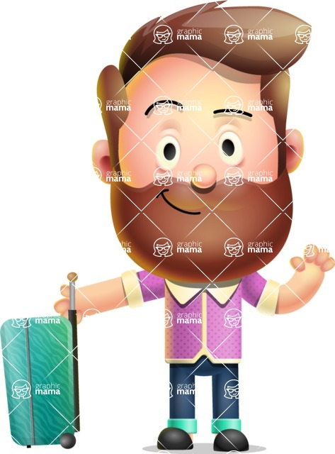 Vector 3D Cartoon Character АКА Ryan McConcept - With Suitcase