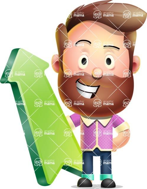 Vector 3D Cartoon Character АКА Ryan McConcept - With Up Arrow
