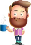 Vector 3D Cartoon Character АКА Ryan McConcept - Drinking Coffee