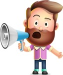 Vector 3D Cartoon Character АКА Ryan McConcept - Holding a Loudspeaker