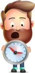 Vector 3D Cartoon Character АКА Ryan McConcept - Holding Clock