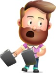 Vector 3D Cartoon Character АКА Ryan McConcept - Hurrying with Two Briefcases