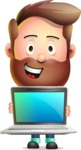 Vector 3D Cartoon Character АКА Ryan McConcept - Showing a Laptop