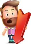 Vector 3D Cartoon Character АКА Ryan McConcept - With Arrow Going Down