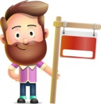 Vector 3D Cartoon Character АКА Ryan McConcept - With Blank Real Estate Sign