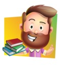 Vector 3D Cartoon Character АКА Ryan McConcept - With Books in a Cool Background