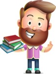 Vector 3D Cartoon Character АКА Ryan McConcept - With Books