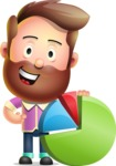 Vector 3D Cartoon Character АКА Ryan McConcept - With Business Graph