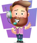 Vector 3D Cartoon Character АКА Ryan McConcept - With Colorful Shapes Background
