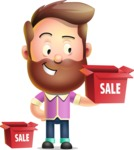 Vector 3D Cartoon Character АКА Ryan McConcept - With Sale Boxes