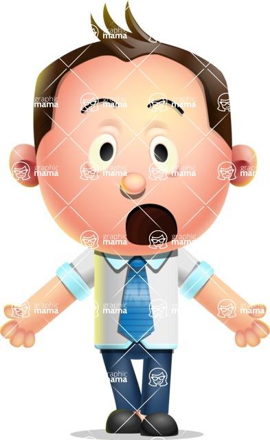 Vector 3D Businessman Character Design AKA Samuel Brightman - Stunned