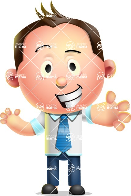 Vector 3D Businessman Character Design AKA Samuel Brightman - Hello