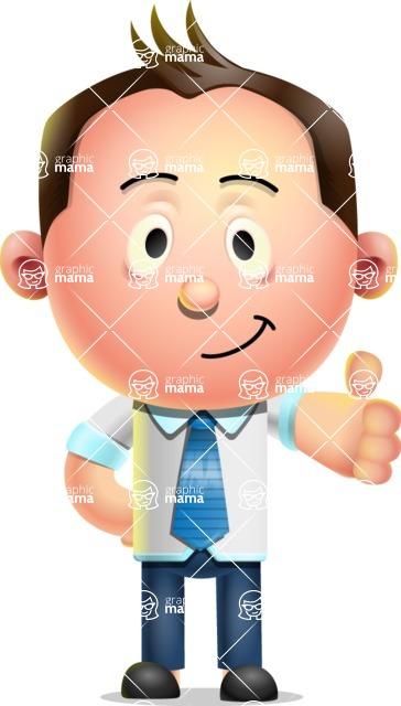 Vector 3D Businessman Character Design AKA Samuel Brightman - Thumbs Up