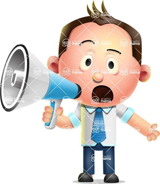 Vector 3D Businessman Character Design AKA Samuel Brightman - Loudspeaker