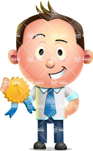 Vector 3D Businessman Character Design - Ribbon