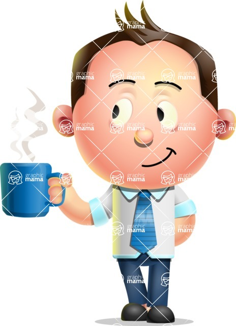 Vector 3D Businessman Character Design - Coffee