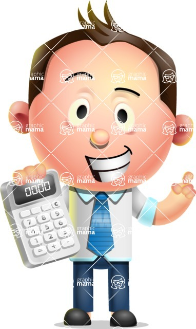 Vector 3D Businessman Character Design AKA Samuel Brightman - Calculator