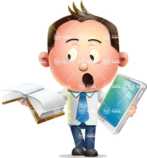 Vector 3D Businessman Character Design - Book and iPad