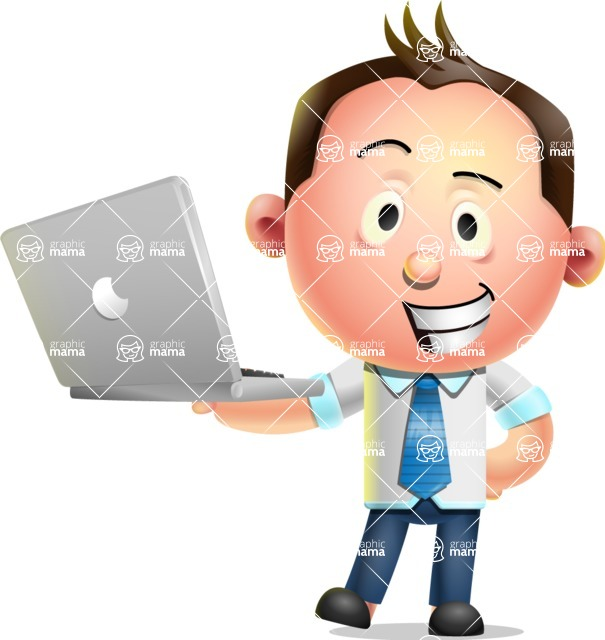 Vector 3D Businessman Character Design AKA Samuel Brightman - Laptop 1