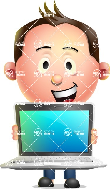 Vector 3D Businessman Character Design AKA Samuel Brightman - Laptop 2
