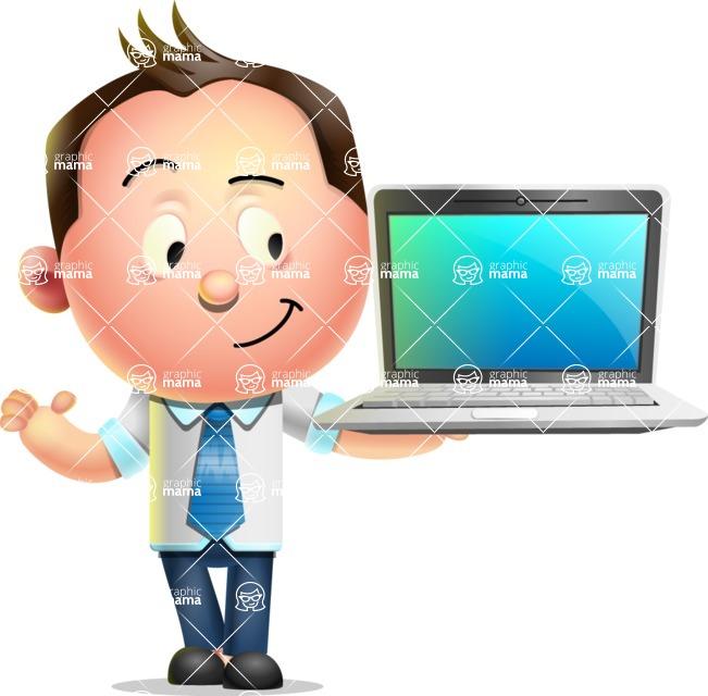 Vector 3D Businessman Character Design AKA Samuel Brightman - Laptop 3