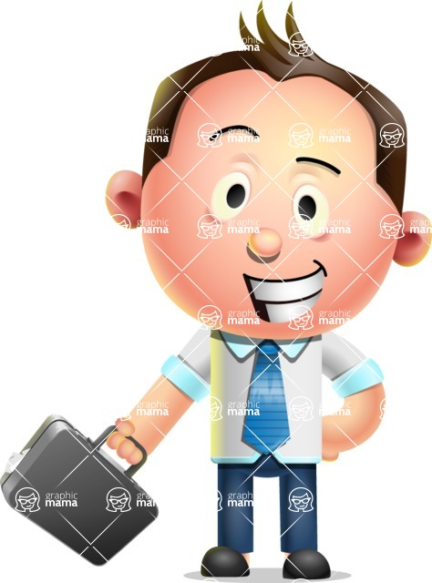 Vector 3D Businessman Character Design AKA Samuel Brightman - Briefcase 1