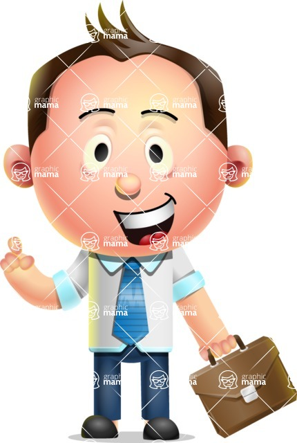 Vector 3D Businessman Character Design - Briefcase 2