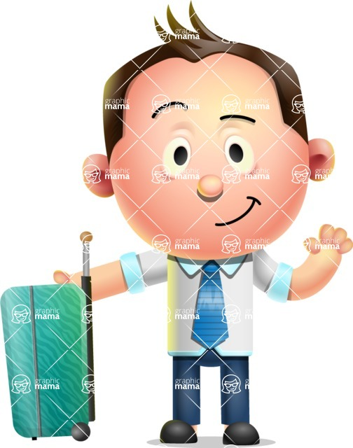 Vector 3D Businessman Character Design AKA Samuel Brightman - Travel 1