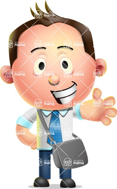 Vector 3D Businessman Character Design AKA Samuel Brightman - Travel 2