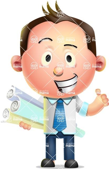 Vector 3D Businessman Character Design AKA Samuel Brightman - Plans