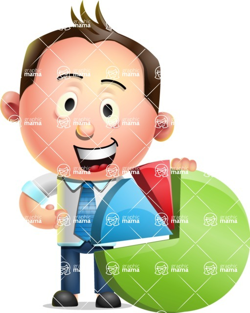 Vector 3D Businessman Character Design AKA Samuel Brightman - Chart