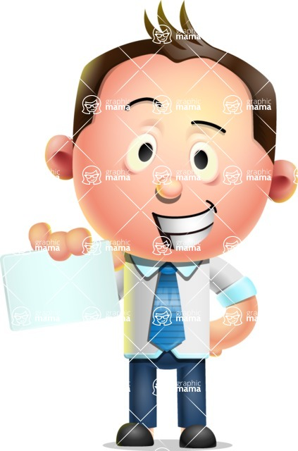 Vector 3D Businessman Character Design AKA Samuel Brightman - Sign 1