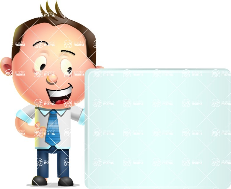 Vector 3D Businessman Character Design - Sign 8