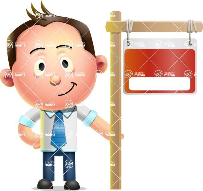 Vector 3D Businessman Character Design AKA Samuel Brightman - Sign 9