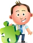 Vector 3D Businessman Character Design AKA Samuel Brightman - Puzzle