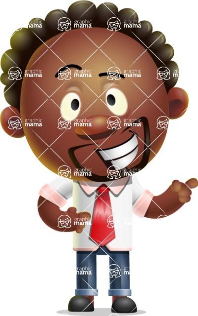 Cute African American Man Cartoon 3D Vector Character AKA Jeffrey Strategic - Point 2