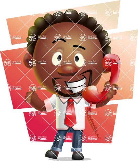 Cute African American Man Cartoon 3D Vector Character AKA Jeffrey Strategic - Shape 7