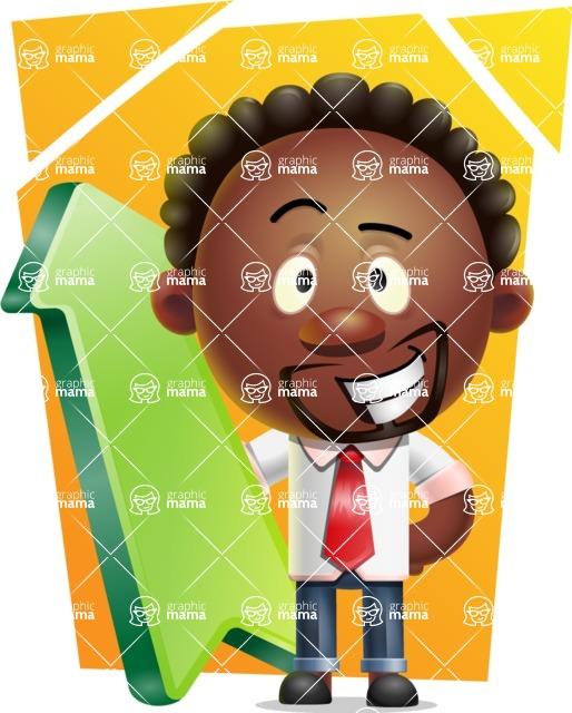 Cute African American Man Cartoon 3D Vector Character AKA Jeffrey Strategic - Shape 8