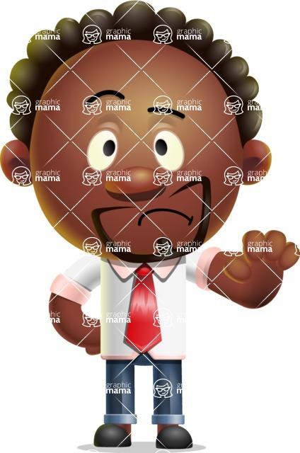 Cute African American Man Cartoon 3D Vector Character AKA Jeffrey Strategic - Stop 2