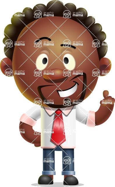 Cute African American Man Cartoon 3D Vector Character AKA Jeffrey Strategic - Attention