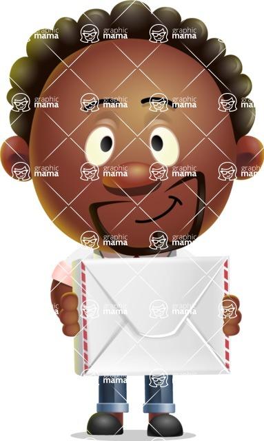 Cute African American Man Cartoon 3D Vector Character AKA Jeffrey Strategic - Letter