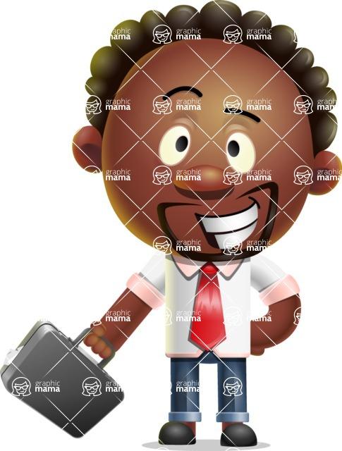 Cute African American Man Cartoon 3D Vector Character AKA Jeffrey Strategic - Briefcase 1