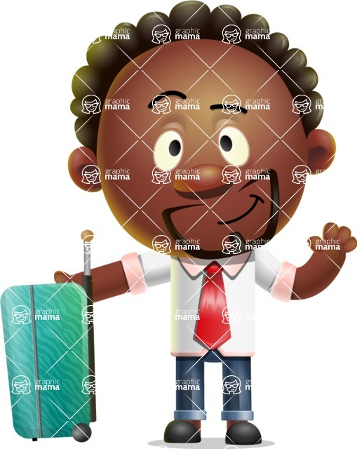 Cute African American Man Cartoon 3D Vector Character AKA Jeffrey Strategic - Travel 1