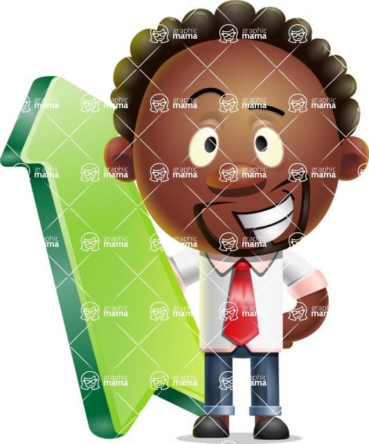 Cute African American Man Cartoon 3D Vector Character AKA Jeffrey Strategic - Pointer 1
