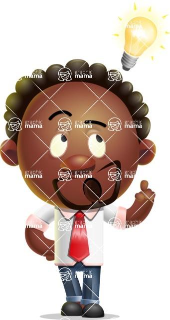 Cute African American Man Cartoon 3D Vector Character AKA Jeffrey Strategic - Idea 2