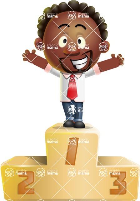 Cute African American Man Cartoon 3D Vector Character AKA Jeffrey Strategic - On Top